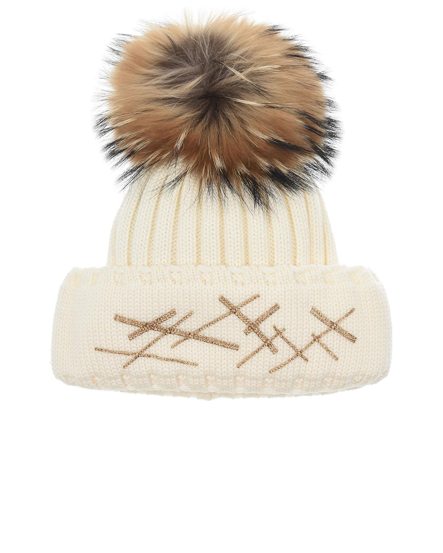 Купить Шерстяная шапка с отделкой бисером Joli Bebe детская, Кремовый, 100%шерсть, 100%натуральный мех