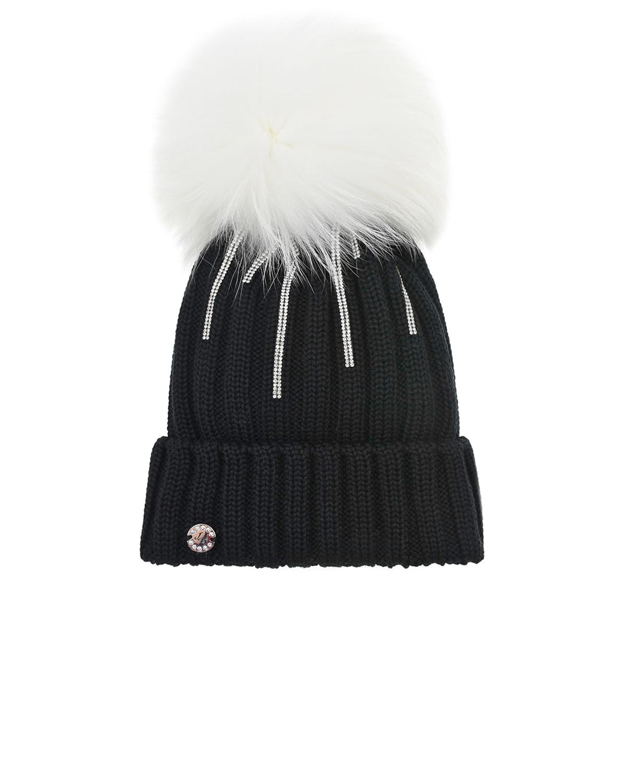Купить Шерстяная шапка с полосками из стразов Joli Bebe детская, Черный, 100%шерсть, 100%натуральный мех