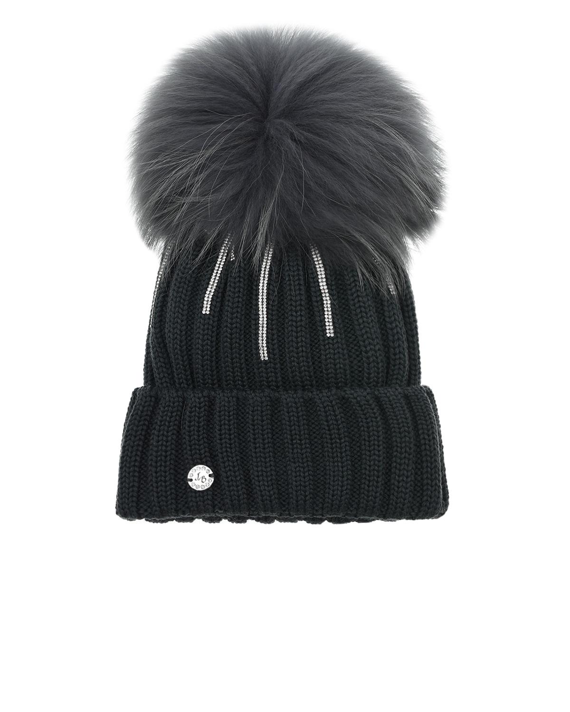 Купить Черная шапка с полосками из стразов Joli Bebe детская, Серый, 100%шерсть, 100%натуральный мех
