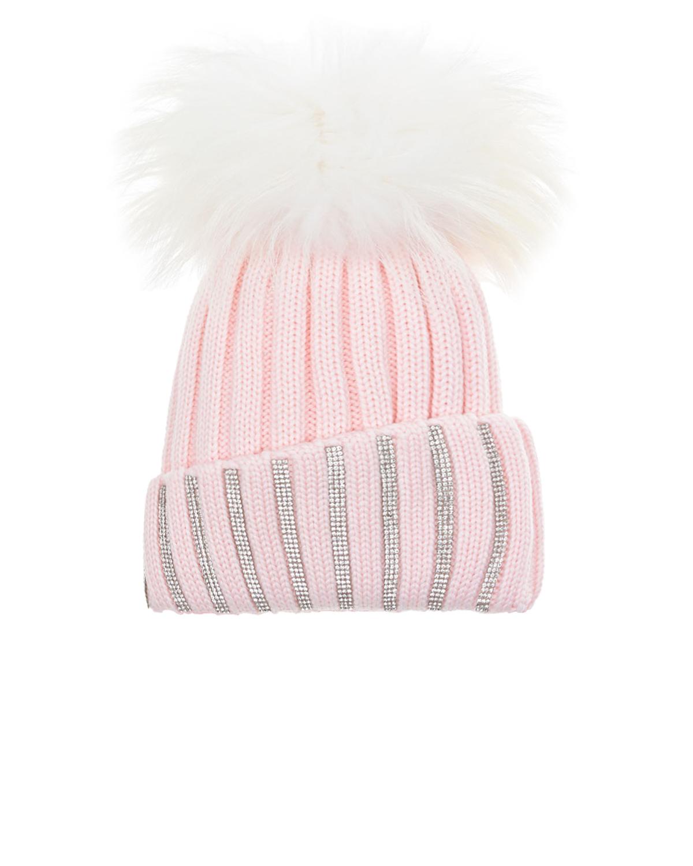 Купить Розовая шапка со стразами и меховым помпоном Joli Bebe детская, Розовый, 100%шерсть, 100%натуральный мех