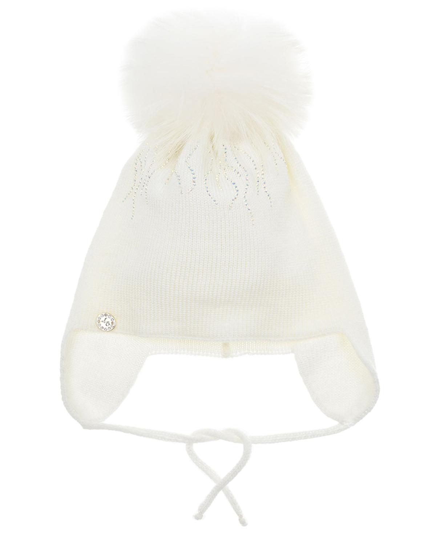 Купить Белая шапка с узором из страз Joli Bebe детская, Белый, 100%шерсть, 100%натуральный мех