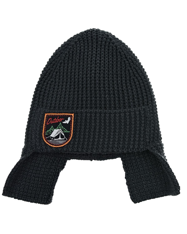 Купить Темно-серая шапка с квадратными ушками Joli Bebe детское, Серый, 100%шерсть