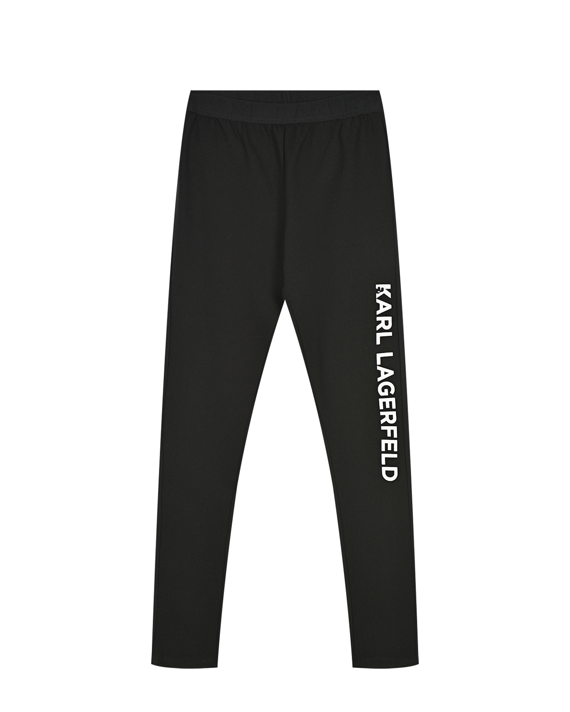 Купить Черные леггинсы с логотипом Karl Lagerfeld kids детские, Черный, 68% вискоза+27% полиамид+5% эластан