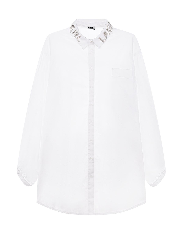 Купить Белая блуза с вышитым логотипом на воротнике Karl Lagerfeld kids детская, Белый, 100% хлопок