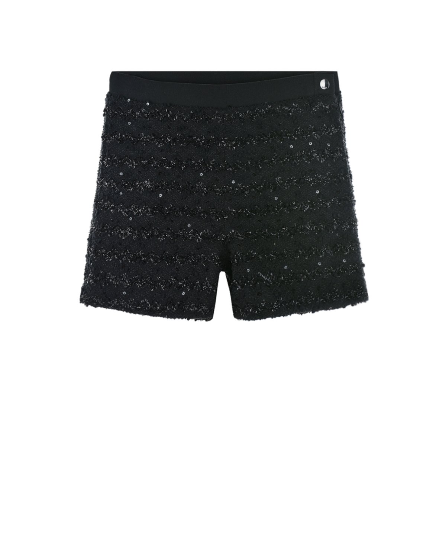 Купить Черные шорты из твида Karl Lagerfeld kids детские, Черный, 98%полиэстер+2%эластан, 100%хлопок