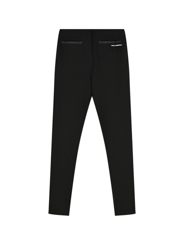 Купить Черные джеггинсы с логотипом Karl Lagerfeld kids детские, Черный, 53% полиэстер+47%вискоза, 68% вискоза+27% полиамид+5% эластан