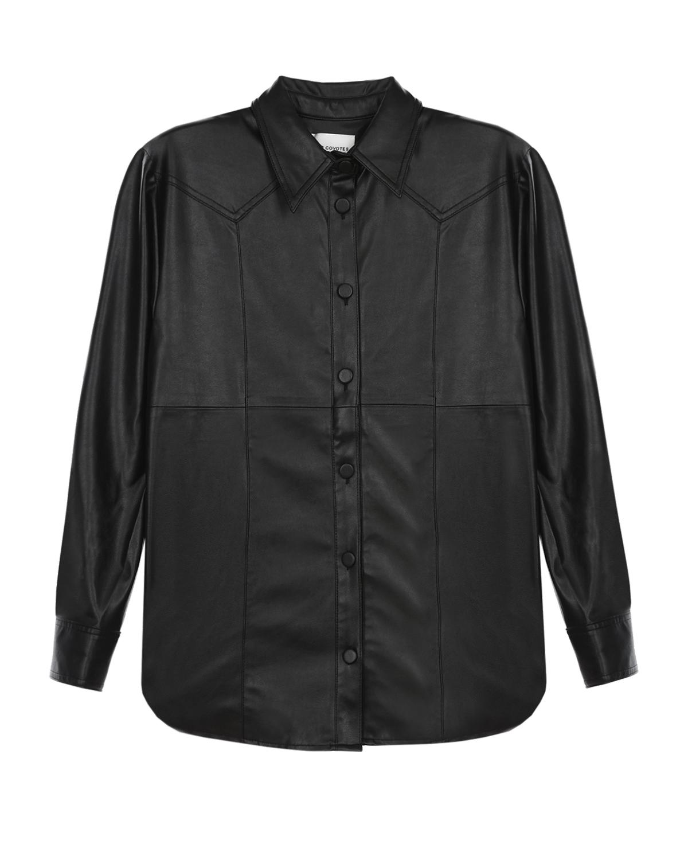 Купить Черная рубашка из эко-кожи Les Coyotes de Paris детская, Черный, 100%полиуретан