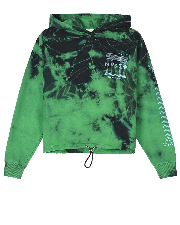 Купить Зеленая толстовка-худи с принтом museo Les Coyotes de Paris детская, Зеленый, 100%хлопок