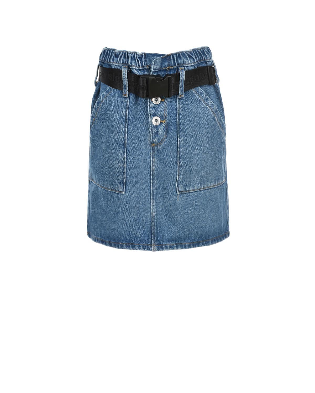 Купить Голубая джинсовая юбка с поясом Les Coyotes de Paris детская, Синий, 100%хлопок