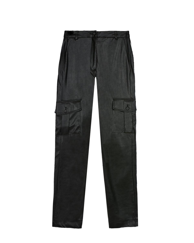 Купить Брюки из экокожи с карманами карго Les Coyotes de Paris детские, Черный, 100%полиуретан, 100%полиэстер