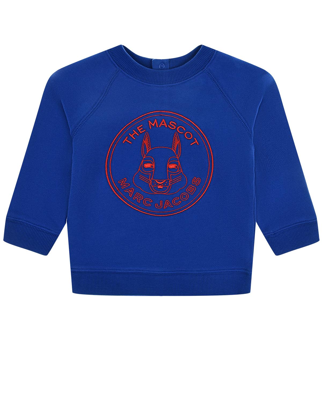 Купить Синяя толстовка с красным принтом Little Marc Jacobs детская, Синий, 100%хлопок, 95%хлопок+5%эластан