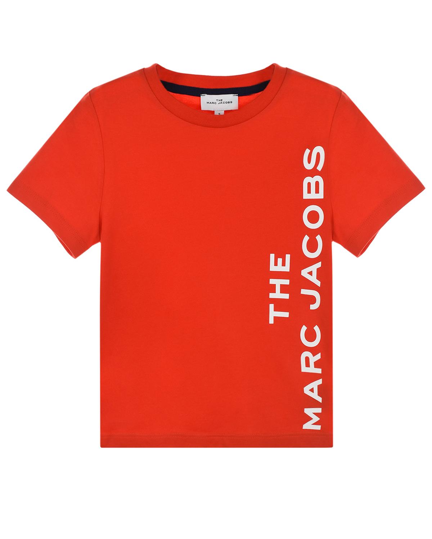 Купить Красная футболка с логотипом Little Marc Jacobs детская, Красный, 100%хлопок