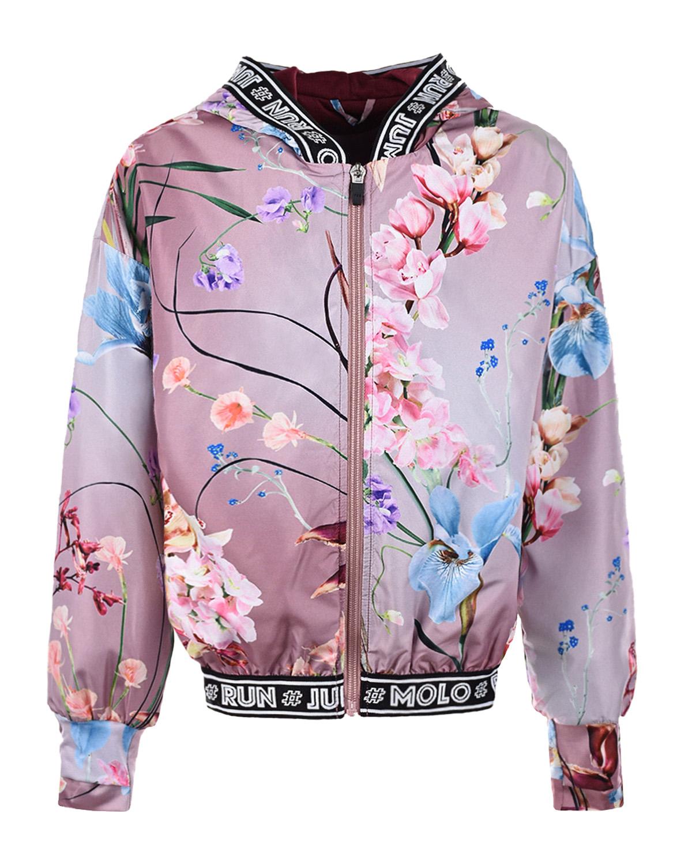 Купить Спортивная куртка с цветочным принтом Molo детская, Сиреневый, 100%полиэстер