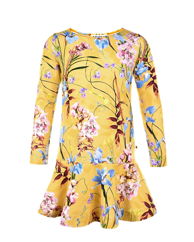 Купить Желтое платье Clara The Art Of Flowers Molo детское, Желтый, 95%хлопок+5%эластан