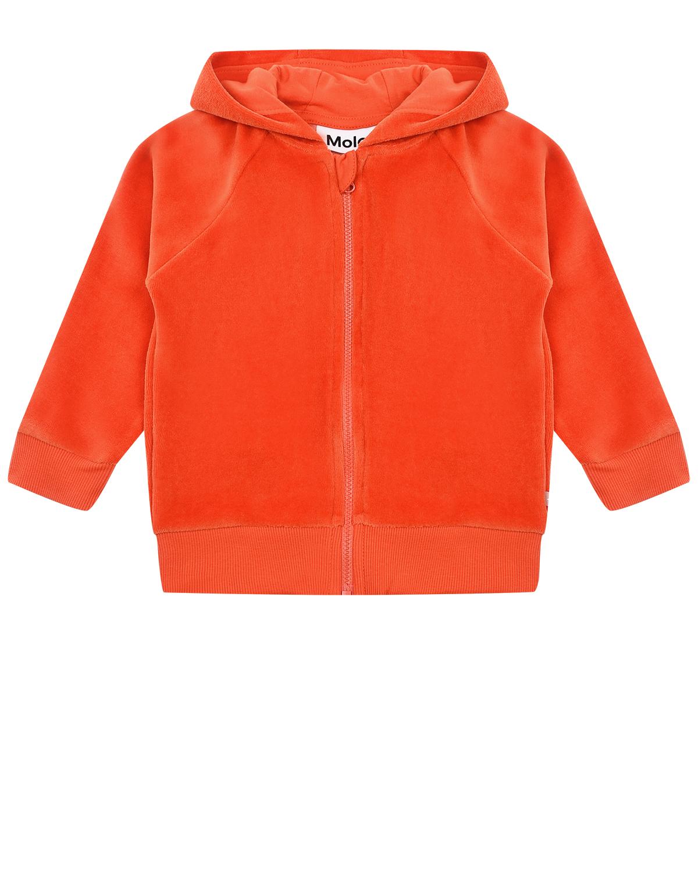 Купить Оранжевая спортивная куртка из велюра Molo детская, Оранжевый, 80%хлопок+20%полиэстер