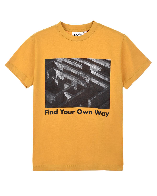 Купить Желтая футболка с фотопринтом Molo детская, Желтый, 100%хлопок