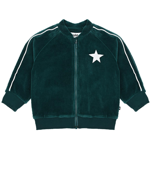 Купить Зеленая спортивная куртка из велюра Molo детская, Зеленый, 80%хлопок+20%полиэстер