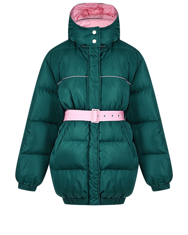 Купить Зеленая куртка с розовым поясом MSGM, Нет цвета, 100%полиамид, 100% полиамид