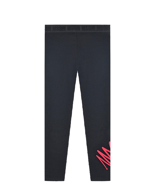 Купить Черные леггинсы с логотипом MSGM детские, Черный, 96%хлопок+4%эластан