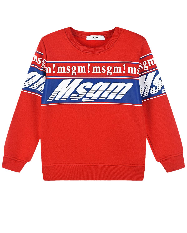 Купить Красный свитшот с белым логотипом MSGM детский, 100%хлопок