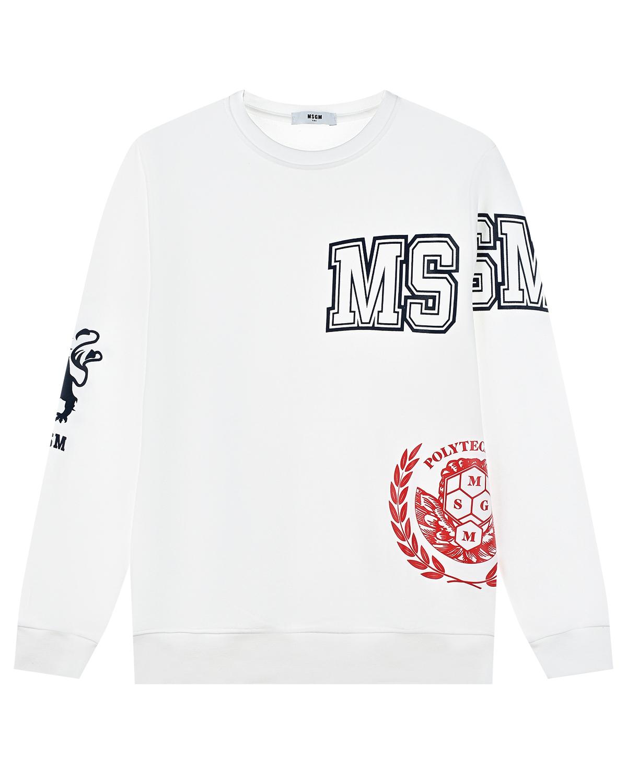 Купить Белый свитшот с логотипом MSGM детский, 100%хлопок