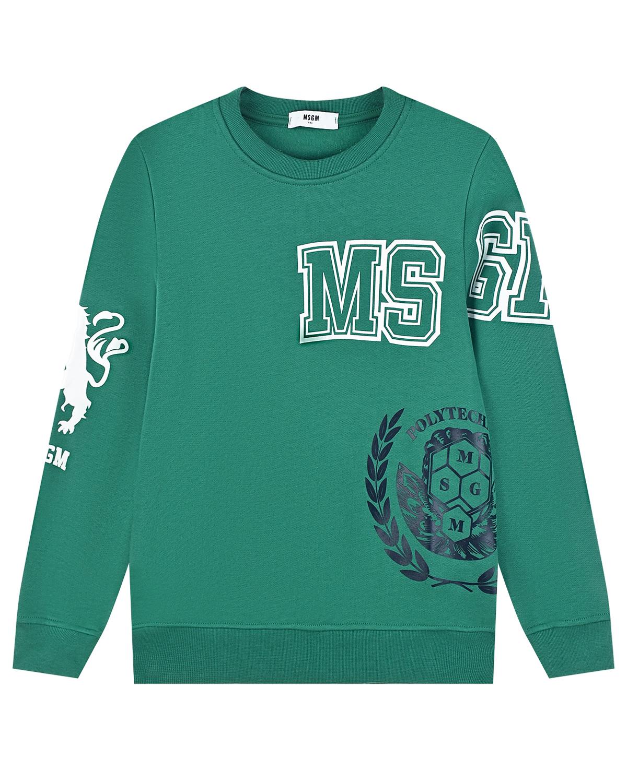 Купить Зеленый свитшот с логотипом MSGM детский, 100%хлопок