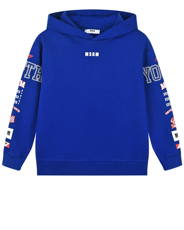 Купить Синяя толстовка-худи с логотипом на рукавах MSGM детская, Синий, 100%хлопок