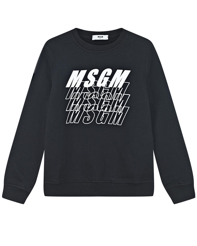 Купить Черный свитшот с белым логотипом MSGM детский, 100%хлопок