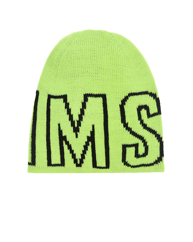 Неоново-желтая шапка с логотипом MSGM детское, Желтый, 80%акрил+10%шерсть+5%альпака+5%район  - купить со скидкой