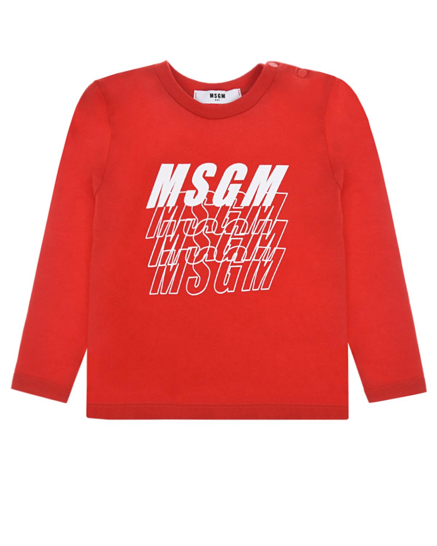 Красная толстовка с логотипом MSGM детская, Красный, 100%хлопок  - купить со скидкой