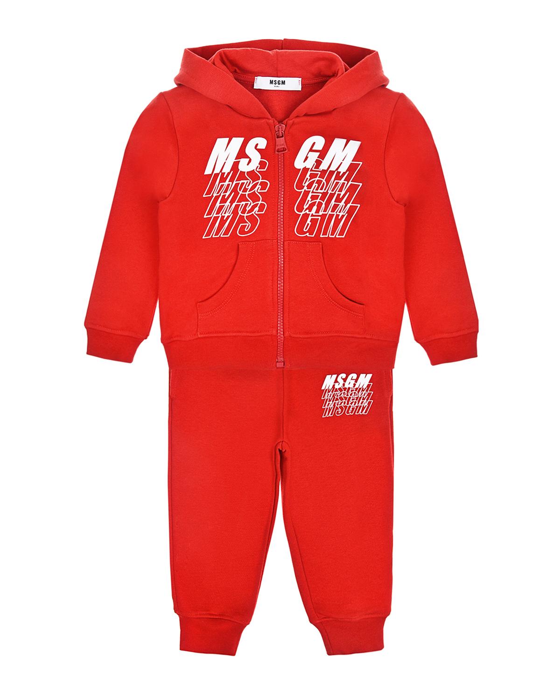 Красный спортивный костюм MSGM детский, 100%хлопок  - купить со скидкой