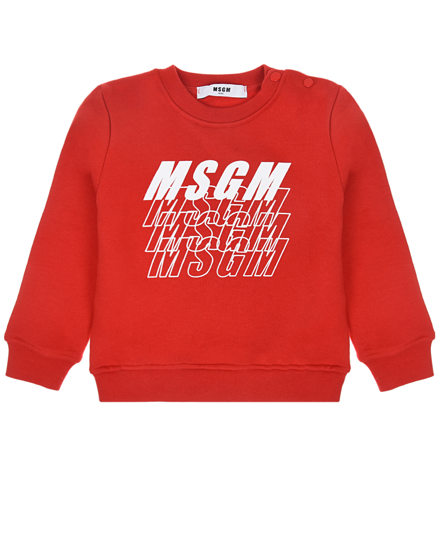 Купить Красный свитшот с логотипом MSGM детский, 100%хлопок