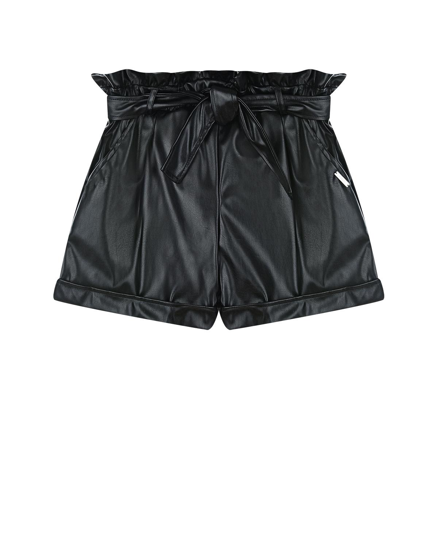 Купить Кожаные шорты с рюшами MSGM детские, Черный, 45% полиэстер+55% полиуретан, 100% вискоза