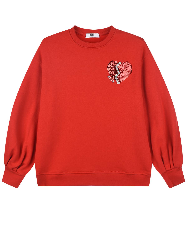 Купить Красный свитшот с аппликацией из пайеток MSGM детский, 100%хлопок