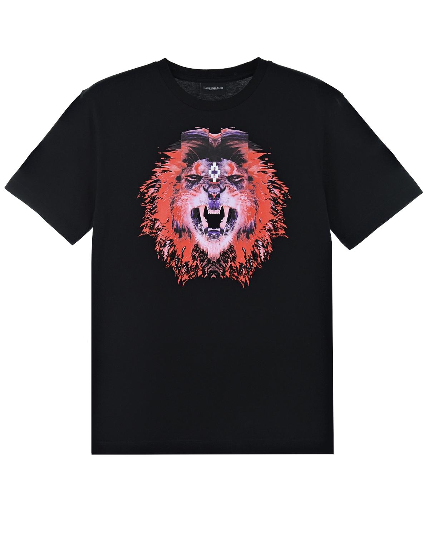Купить Черная футболка с принтом Лев Marcelo Burlon детская, Черный, 100% хлопок