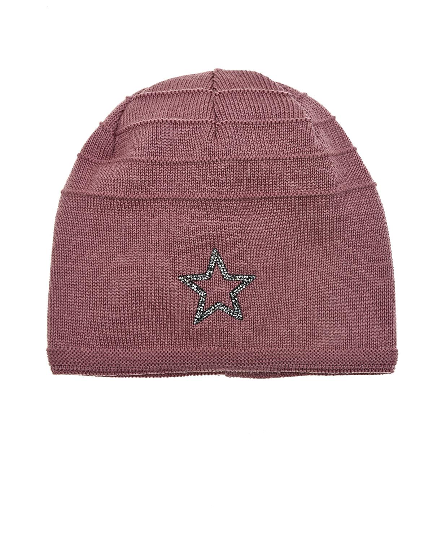 Купить Темно-розовая шапка со звездой из страз MaxiMo детское, Розовый, 100%шерсть, 80%хлопок+15%полиамид