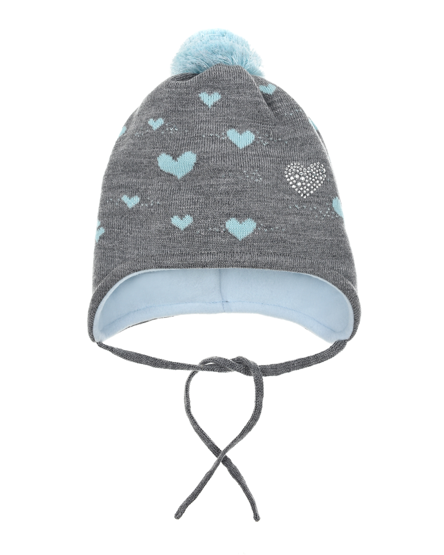 Купить Серая шерстяная шапка с принтом сердечки MaxiMo детская, Серый, 100%шерсть, 85%хлопок+15%полиамид