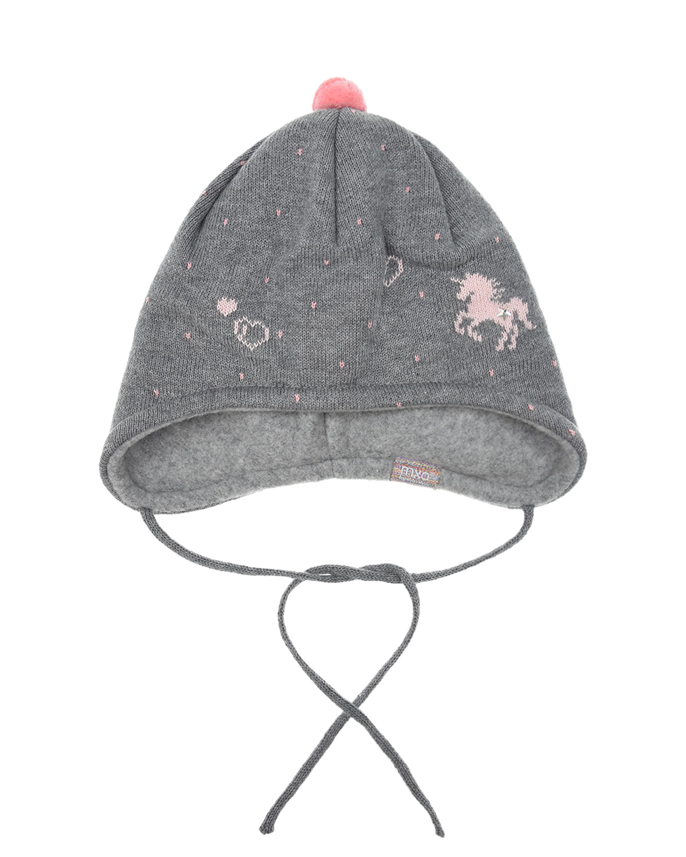 Купить Серая шапка с принтом единорог MaxiMo детская, Серый, 100% хлопок, 85% хлопок+15% полиамид
