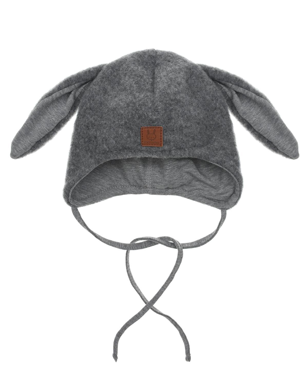 Купить Шерстяная шапка с декором в форме заячих ушек MaxiMo детская, Серый, 100%шерсть, 95%хлопок+5%эластан