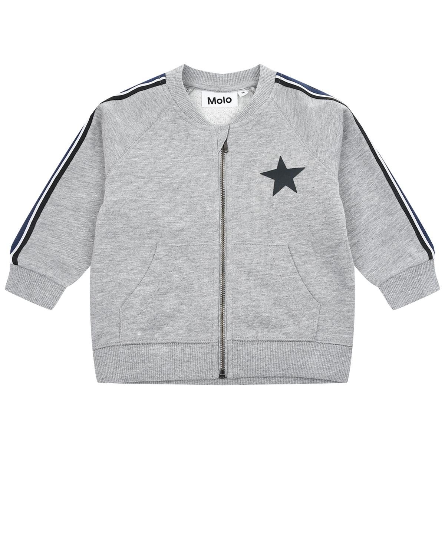 Купить Серая спортивная куртка с лампасами Molo детская, Серый, 90%хлопок+10%вискоза