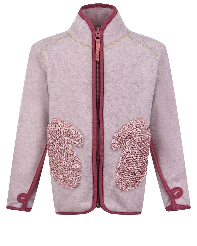 Купить Розовая спортивная куртка из флиса Molo детская, Розовый, 100%полиэстер