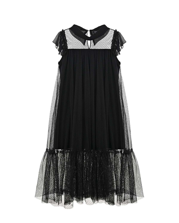 Купить Черное платье из шифона Monnalisa детское, Черный, 94%хлопок+6%эластан, 100%полиэстер