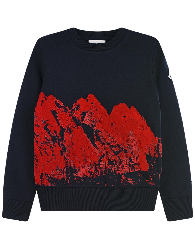 Купить Темно-синий свитшот с принтом горы Moncler детское, Синий, 100%хлопок