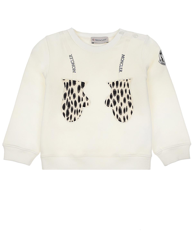 Купить Свитшот с принтом леопардовые варежки Moncler детский, Белый, 95%хлопок+5%эластан, 100%полиамид, 100%полиэстер