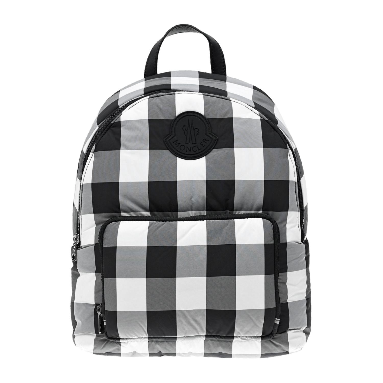 Купить Рюкзак в черно-белую клетку, 36x27x12 см Moncler детский, Белый, 100% полиамид