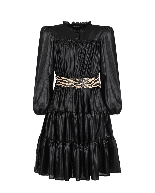Купить Черное платье из эко-кожи Monnalisa детское, Черный, 100% полиэстер, 60% вискоза+40% хлопок