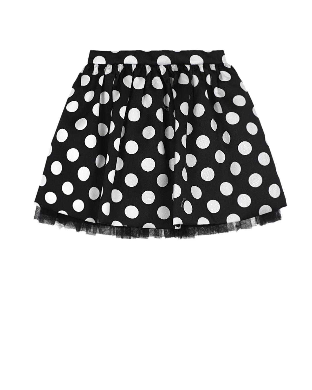 Купить Черная юбка с принтом в горох Monnalisa детская, Черный, 100% полиэстер, 60% вискоза+40% хлопок