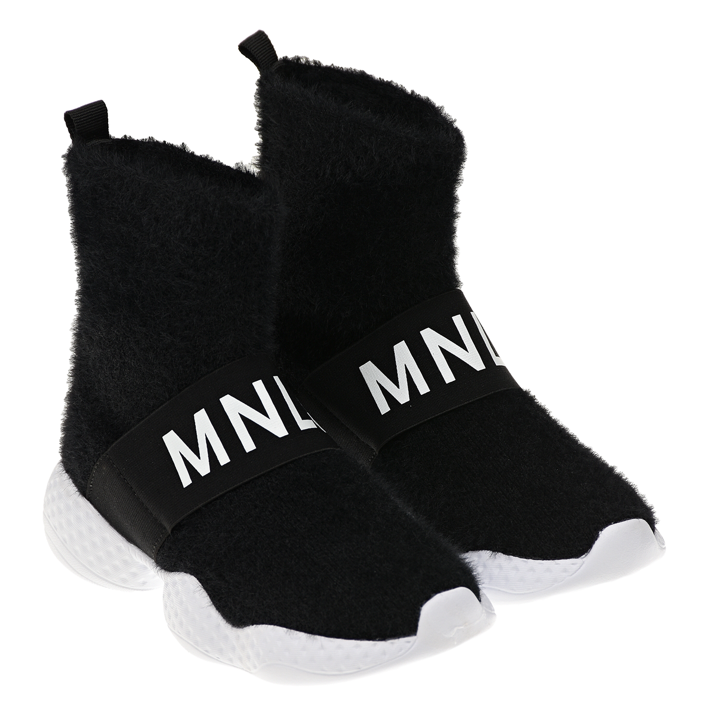 Купить Черные кроссовки-носки с белым логотипом Monnalisa детские, Черный, Верх:100%полиэстер, Подкладка:100%полиэстер, Подошва:100%эластодиен