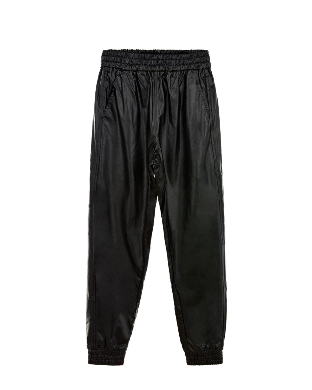 Черные брюки из эко-кожи Monnalisa детские, Черный, 100%хлопок. 100%полиуретановая смола  - купить со скидкой