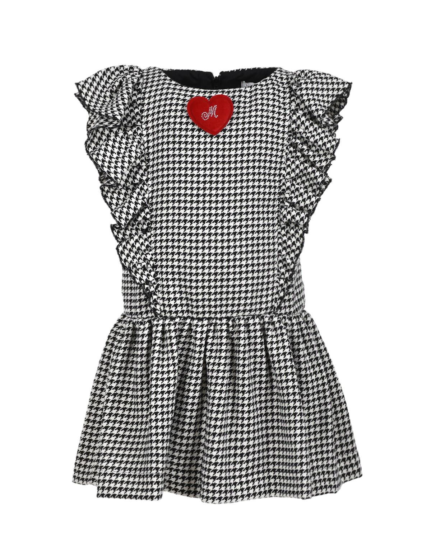Купить Платье с объемным декором в форме сердца Monnalisa детское, Мультиколор, 65% хлопок+30% полиэстер+5% другое волокно, 60% вискоза+40% хлопок
